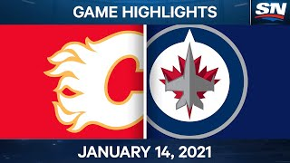 NHL Game Highlights Flames vs. Jets - Jan. 14, 2021