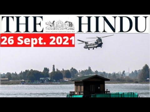 26 September 2021   The Hindu Newspaper Analysis   The Hindu Newspaper Today   The Hindu Analysis