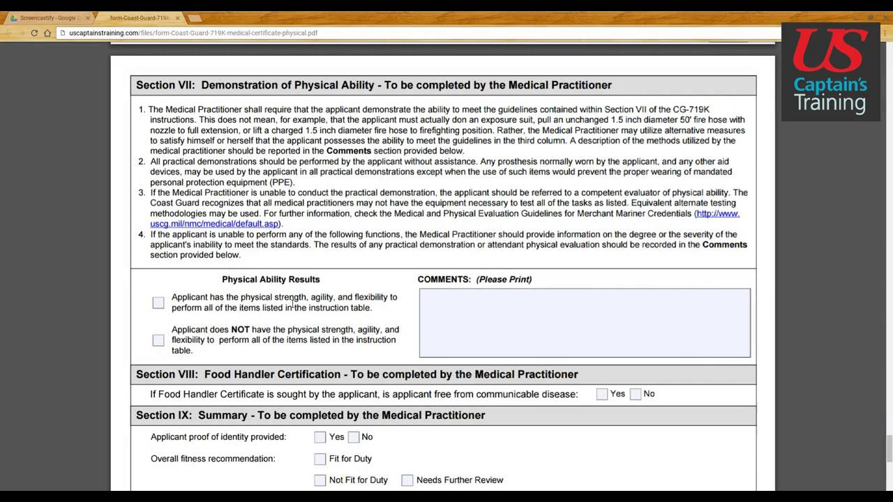 Captains license Medical Certificate Form Section IV - X - YouTube