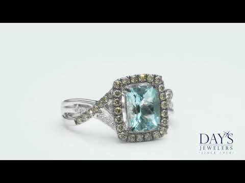 Le Vian Sea Blue Aquamarine Ring in Vanillia Gold with Chocolate and Vanilla Diamonds (1/2ct tw)