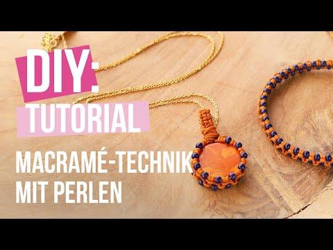 Schmuck machen: Macramé-Technik mit Perlen für Armbänder und Anhängern ♡ DIY