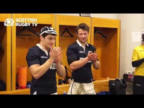 Exclusive changing room footage of Scotland scrum-half Sam Hidalgo-Clyne getting his first cap.