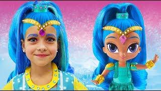 София превратилась в Куклу Шиммер и Шайн, Sofia Dress up & New Make Up with toys Shimmer and Shine