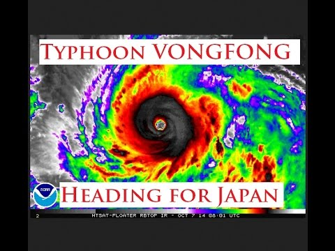 """10/07/2014 -- New Typhoon """"VONGFONG"""" heading for Japan -- Currently Category 4"""