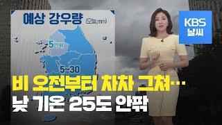 [날씨] 전국 비 차차 그쳐…한낮 25도 밑돌아 / KBS뉴스(News)