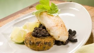 Roasted Halibut with Spicy Black Bean Cakes