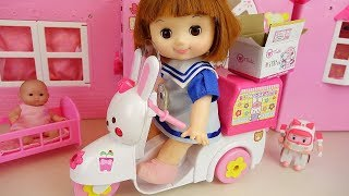 Baby doll bike delivery car toys baby Doli house play