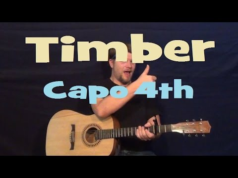 Timber (Pitbull ft. KESHA) Easy Strum Guitar Lesson How to Play Capo 4th Em G D C