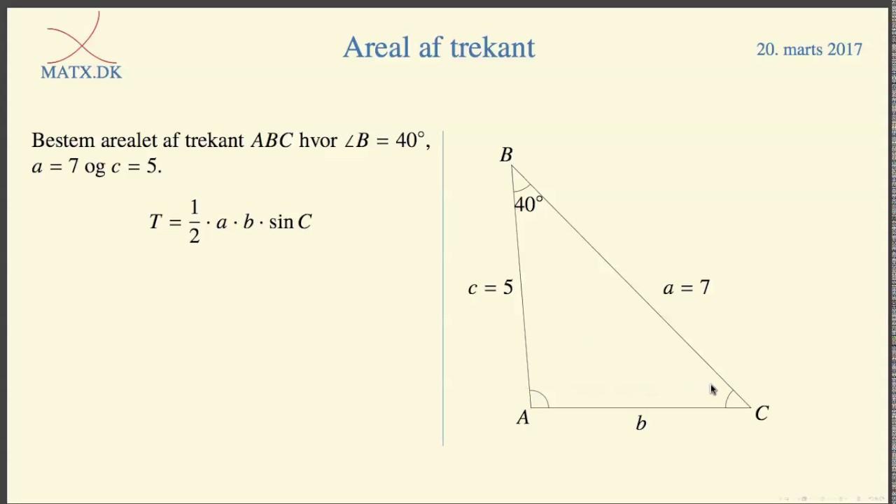 areal af retvinklet trekant