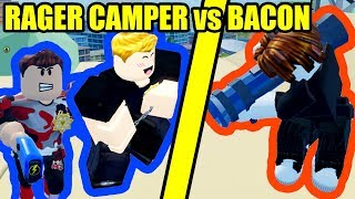 RAGE KID CAMPING COPS vs BACON HAIR in Roblox Jailbreak