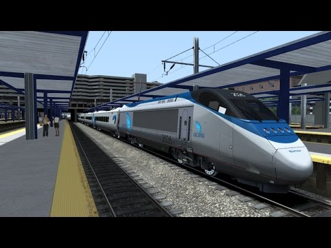 TS2015 HD: New Haven-Boston Route New Scenery Update (8/26/15) Acela Express Train 2165 Cab Ride