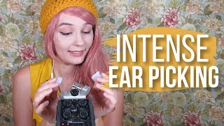 ASMR   Intense Ear Picking / Cupping & Layered Unintelligible Whisper (with mic distortion)