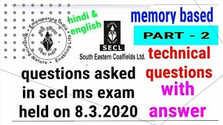 Secl mining sirdar exam questions and answers held on 08.03.2020  Technical questions