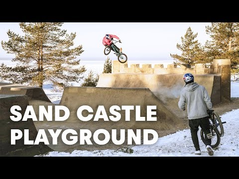 GIANT SAND CASTLE: A frozen BMX playground out of sand?