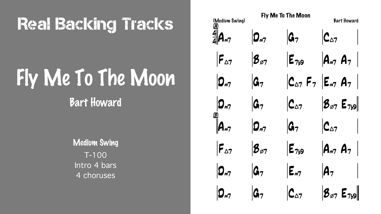Fly Me To The Moon Real Jazz Backing Track Play Along Youtube