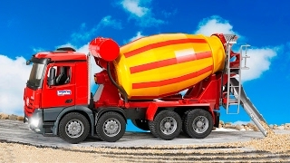 The Cement Mixer Truck Cartoon Construction Vehicle Learn Transport and Colors