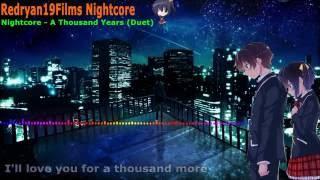 Repeat youtube video [ Nightcore ]   A Thousand Years - Duet + Lyrics