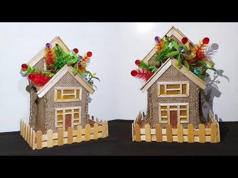 DIY, Wall Hanging Flower Vase, House Shape Pen Stand, Popsicle Stick Crafts ,diy vase