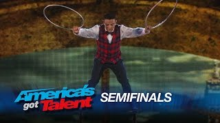 Uzeyer Novruzov: Ladder Climber Takes a Spill - America's Got Talent 2015