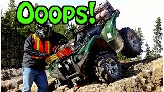 "The Yamaha Grizzly Has An ""Oopsie"" In A Gravel Pit - Kapesakosi Lake Quad Ride - Sept. 29 2013"