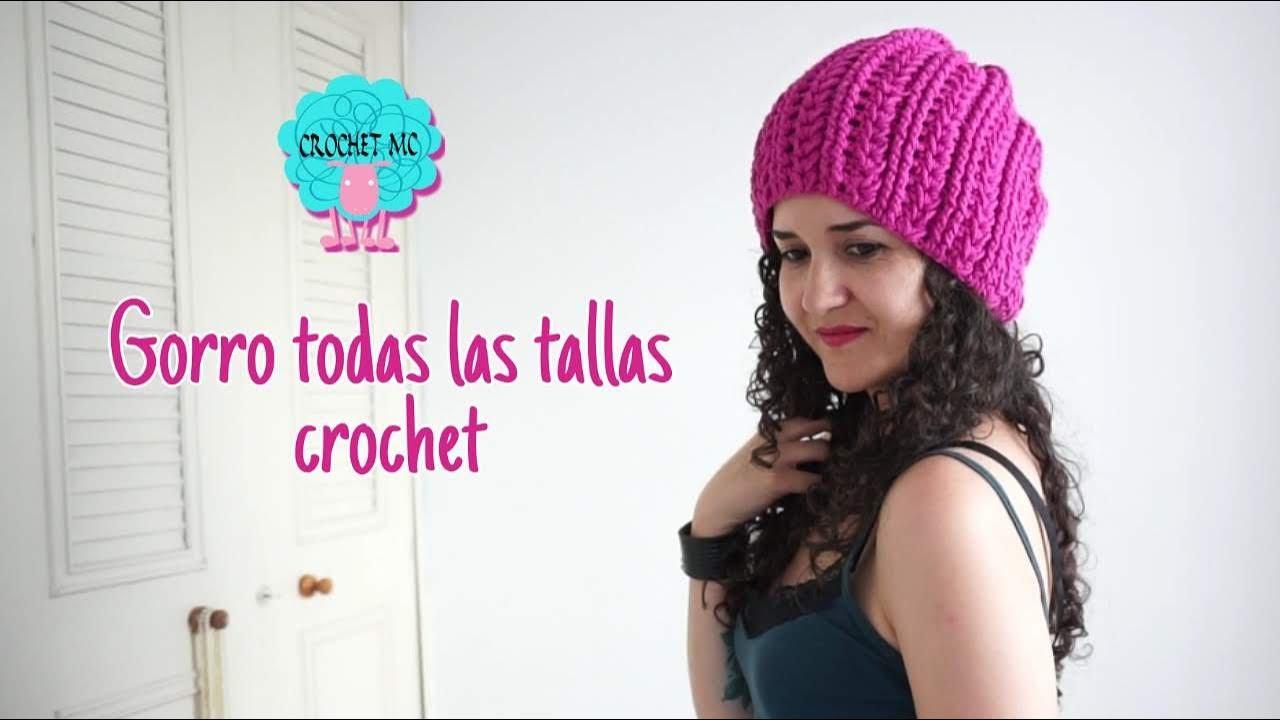 Tutorial boina caída a crochet en todas las tallas - YouTube 02b1d495cc2