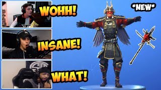STREAMERS REACTS TO NEW SHOGUN SKIN - JAWBLADE PICKAXE ET KABUTO GLIDER! FORTNITE MEILLEURS MOMENTS