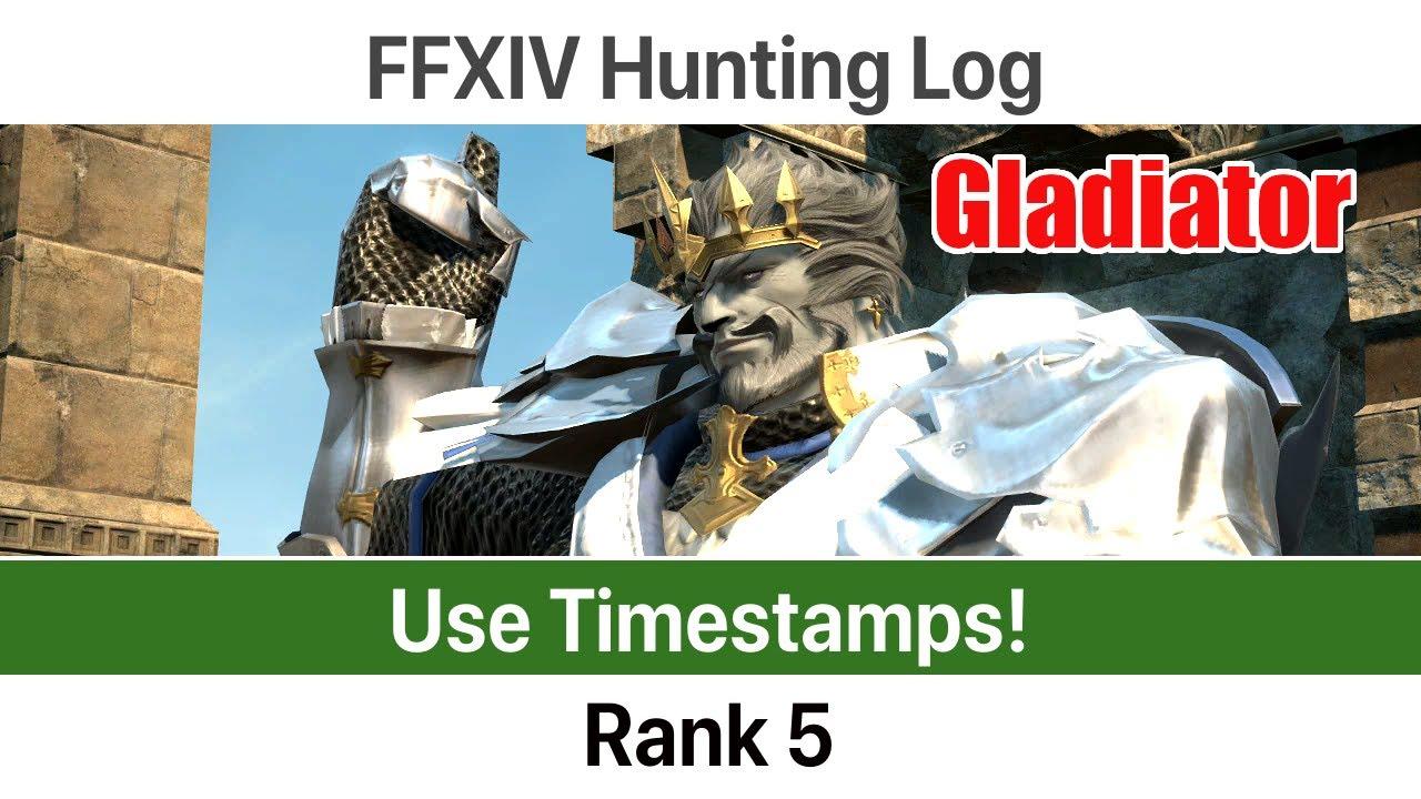FFXIV Hunting Log Gladiator Rank 5 - A Realm Reborn by Okamoza