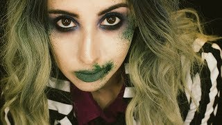Grungy Glam Beetlejuice Inspired Makeup Tutorial