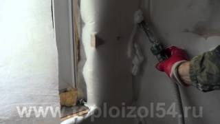 Пеноизол утепление стены каркасного дома.(, 2012-09-22T09:14:56.000Z)