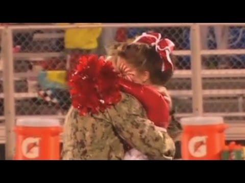 Gitmo soldier surprises cheerleader daughter