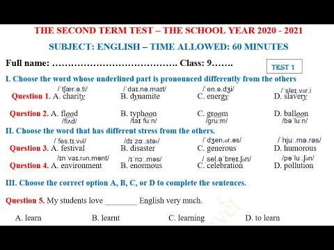 Anh 9 - Đề 01 - Giải đề thi Cuối Kỳ 2 môn Anh lớp 9 năm học 2020 - 2021
