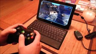 Halo Spartan Assault with Xbox 360 Controller on Surface RT and HD TV