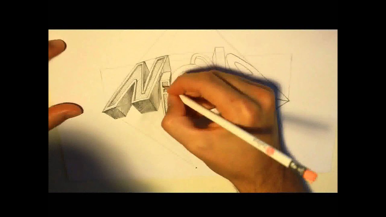 Scritta 3d (speed drawind) disegno a mano - YouTube