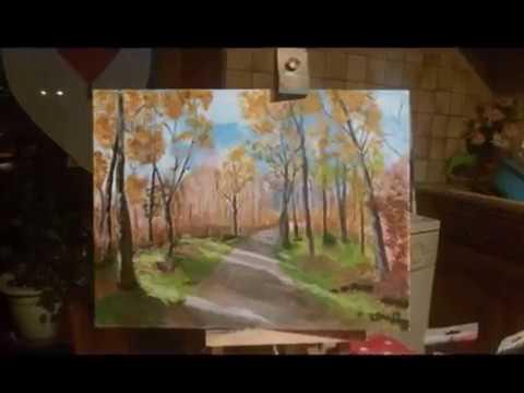 Peinture Acrylique Paysage Dautomne Youtube