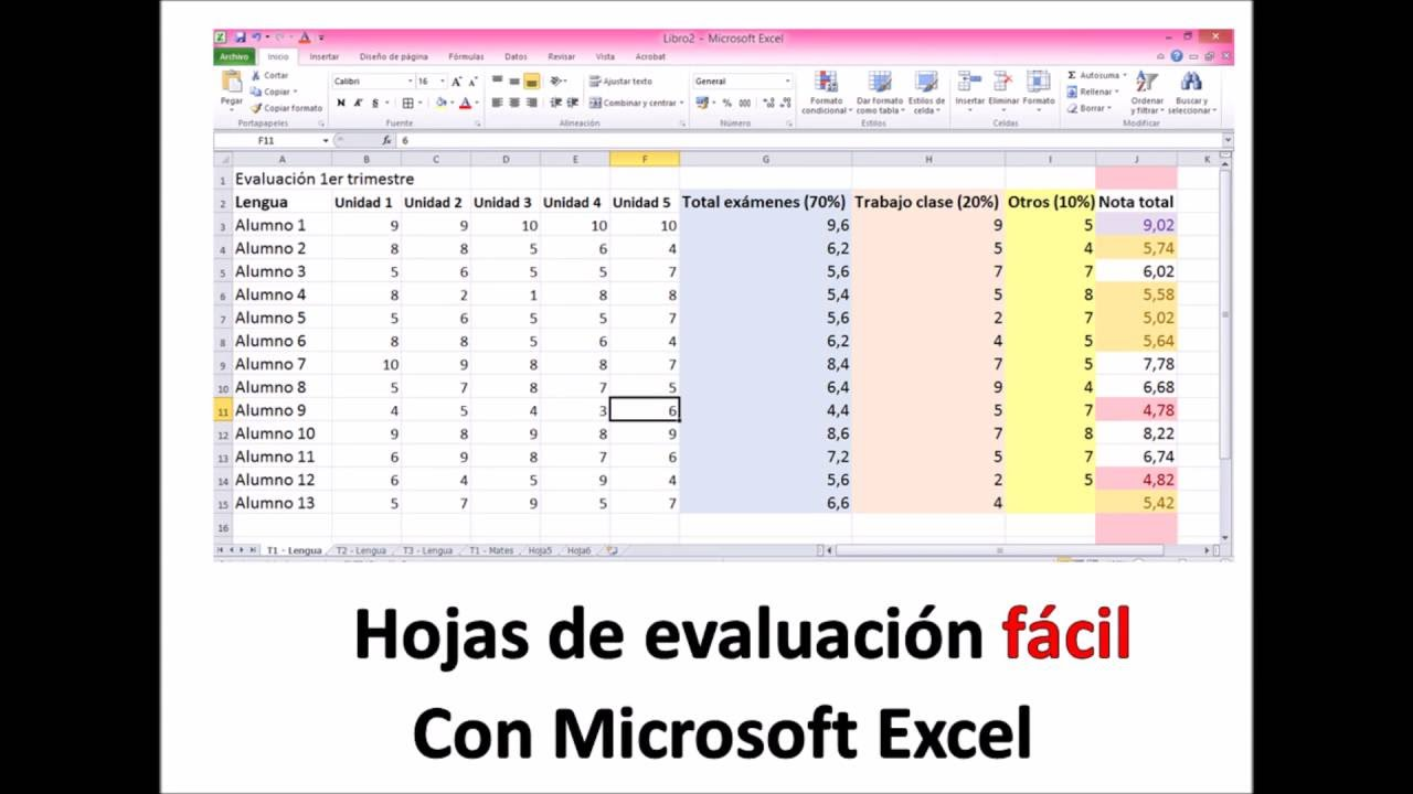 Evaluar fácil con Excel. Perfecto para maestros y profesores. Poner ...