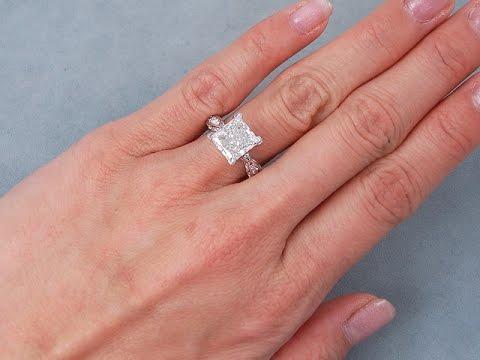 3.65 ctw Princess Cut Diamond Engagement Ring