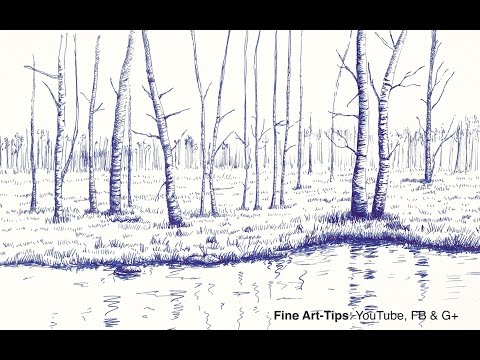 How to Draw a Landscape With Trees and Lake, With Fountain Pen