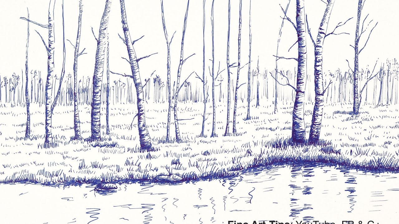 How to Draw a Landscape With Trees and Lake, With Fountain ...