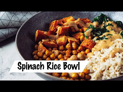HEALTHY VEGAN VEGGIE BOWL | Spinach Rice Chickpeas | Easy Recipe
