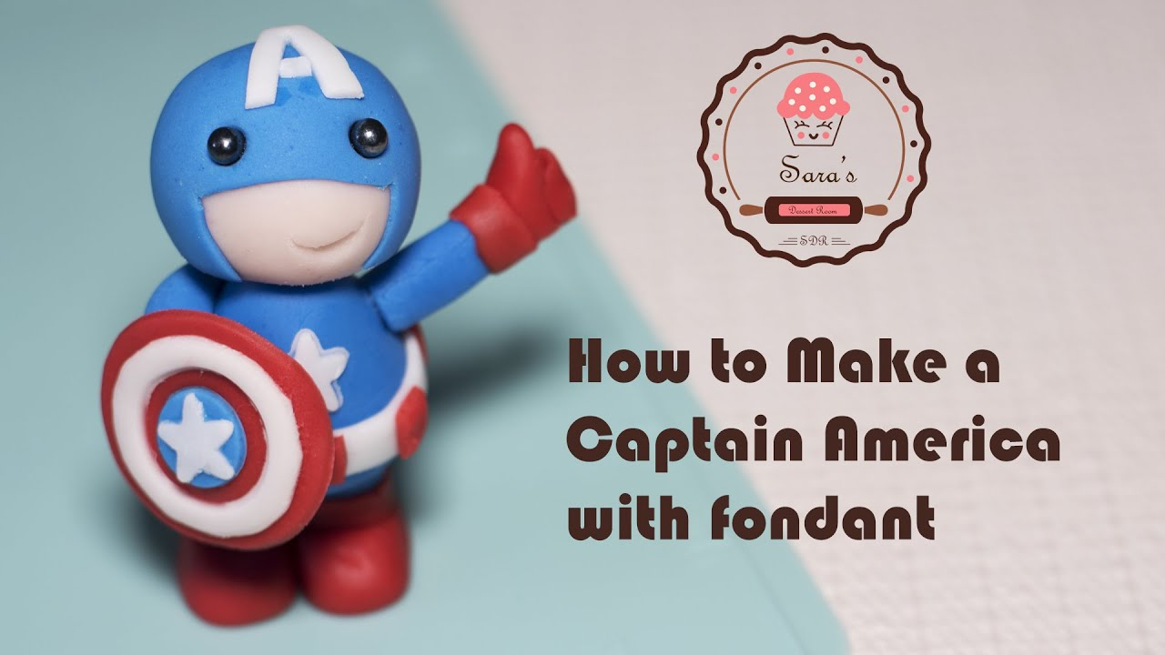 How to make super hero Captain America as cake topper with fondant