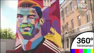 Гигантские граффити на тему футбола создают в Казани
