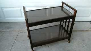 Vintage 1960's 2 Tier Wooden Glass Serving Cart With Rolling Gold Wheels