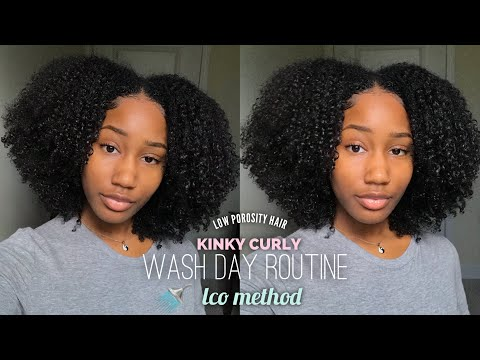 KINKY CURLY HAIR WASH DAY ROUTINE + LCO(G) METHOD! | LOW POROSITY *SUPER DETAILED*