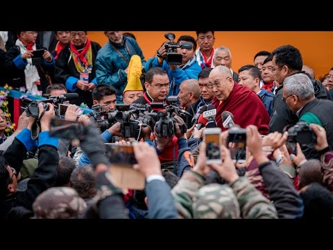 His Holiness the Dalai Lama Speaks to the Press in Bomdila