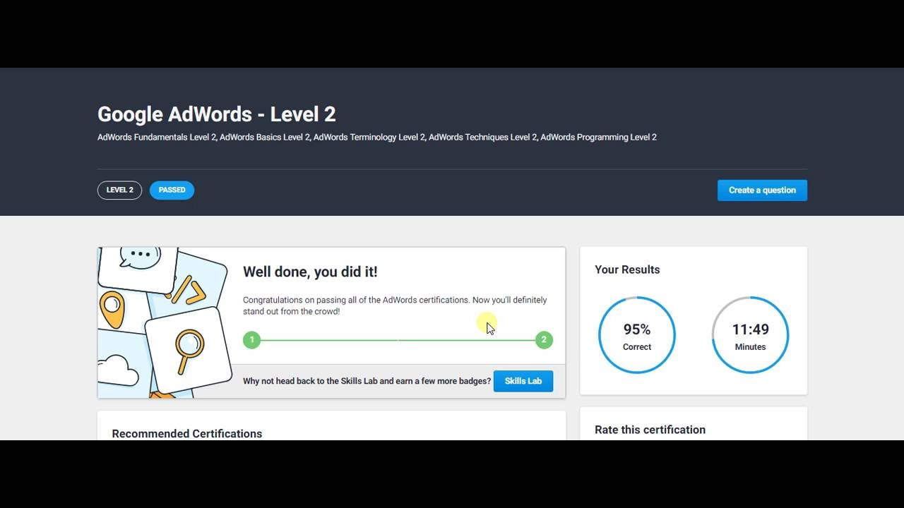 freelancer google adwords level 2 exam certification help