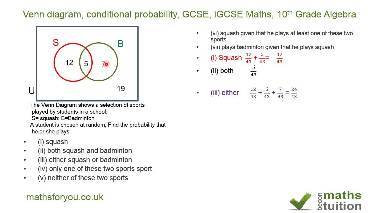venn diagram conditional probability gcse igcse maths 10th grade algebra youtube [ 1280 x 720 Pixel ]