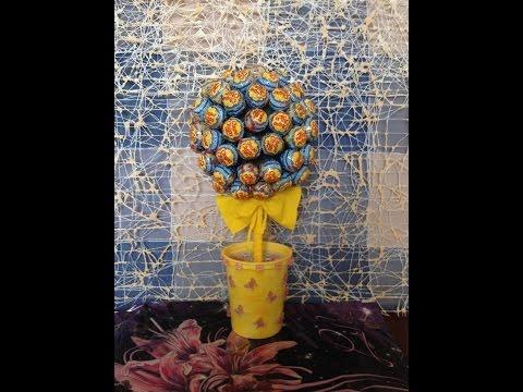 Как сделать букет из чупа чупсов\The bouquet of Chupa Chups.