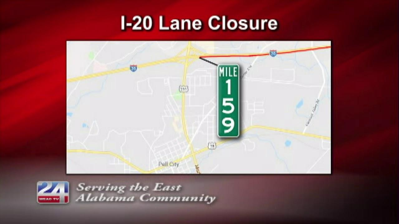 Alabama Department of Transportation Closes Lanes on I-20 ... on interstate i-20, interstate 69 map alabama, highway map of alabama, interstate map of mississippi and alabama, i 20 map alabama, interstate 30 map alabama, interstate 49 map in scott county arkansas, i-84 map alabama, interstate 85 map alabama, interstate 90 in alabama, interstate highway map,
