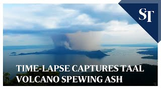 Time-lapse captures Philippines' Taal volcano spewing ash