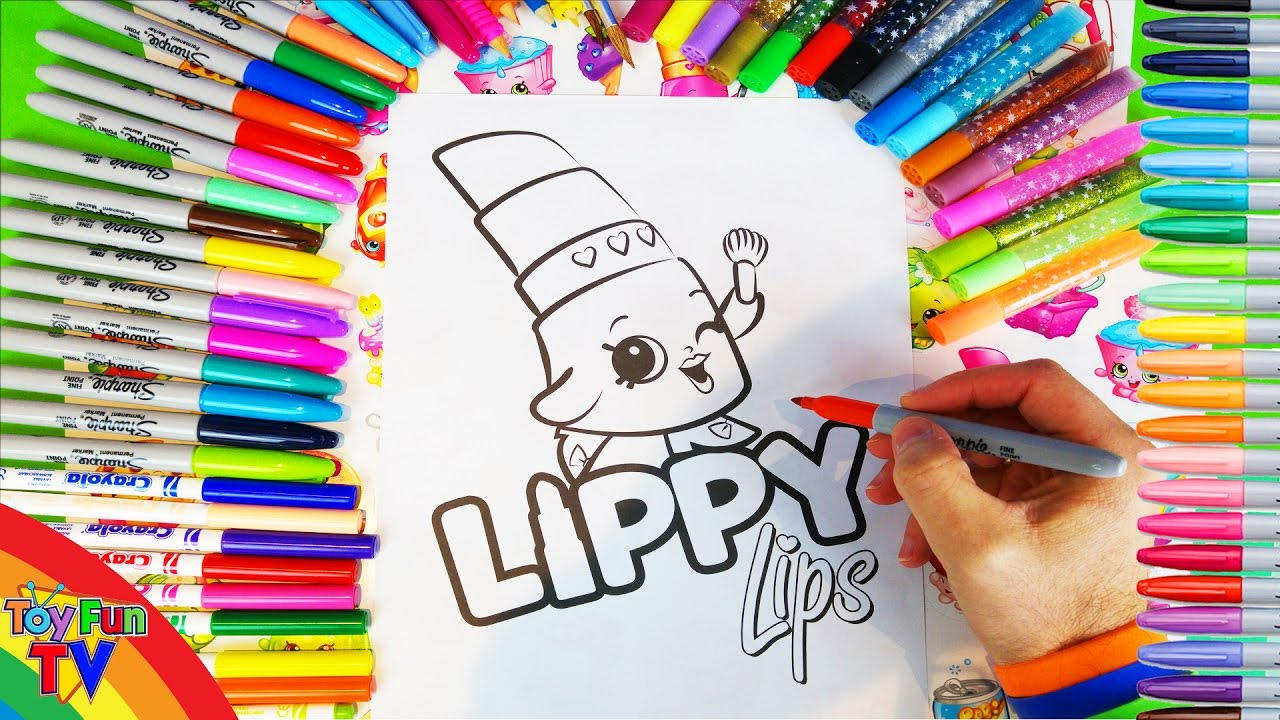 coloring shopkins lippy lips colouring pages for kids to learn to